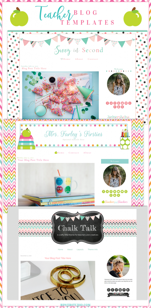 Premade blog designs for teachers - browse over 20 styles!