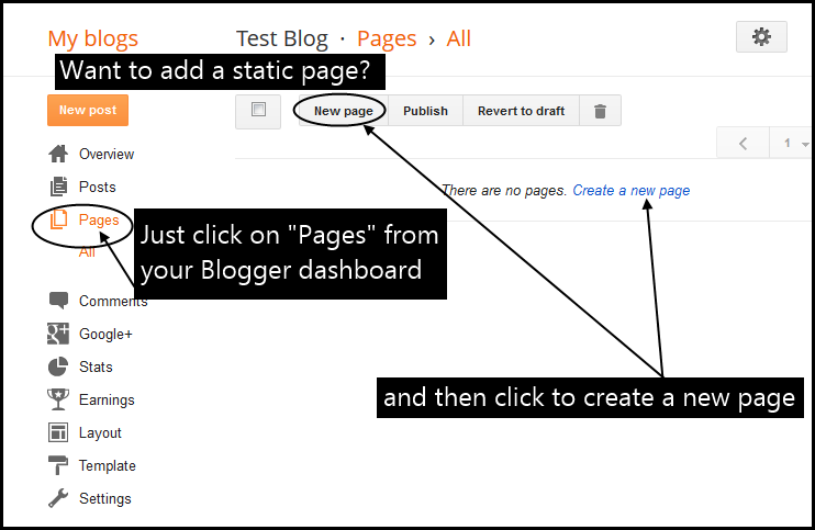 How to add a page to Blogger navigation menu new