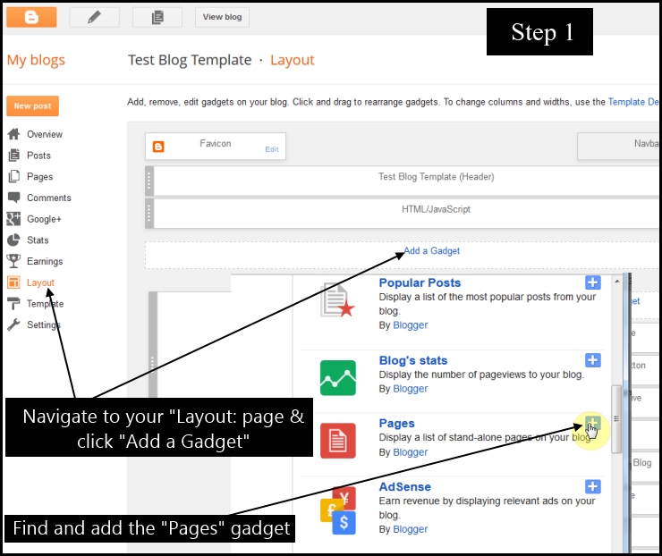 How to add Blogger posts to pages & navigation tabs step 1