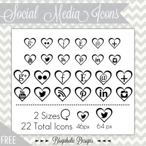 Free Feminine Social Media Icons - Black Hearts