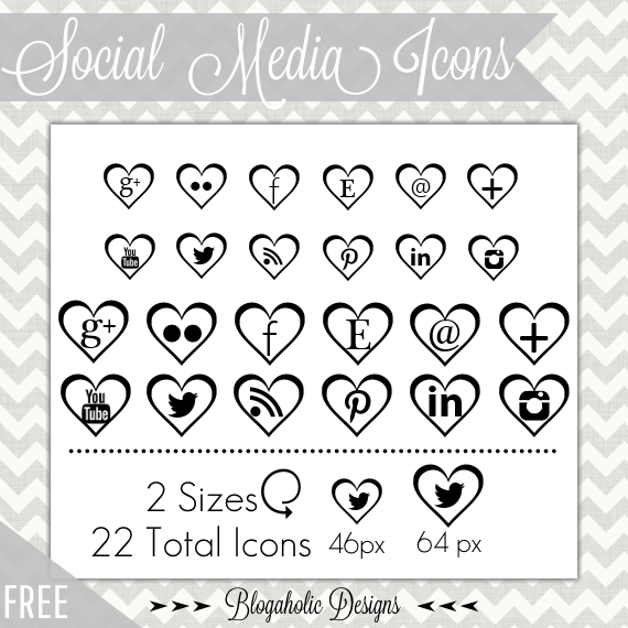 Free Feminine Social Media Icons - Black Hearts