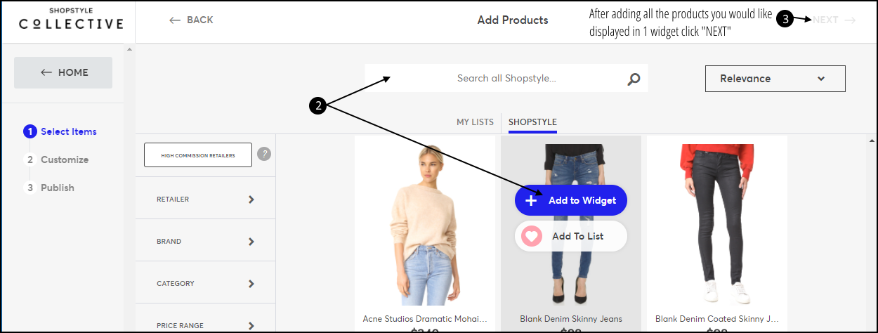 How To Add Shop The Post Widget Step 2