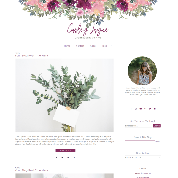 Flower Blogger Template - Pink | Purple | Blogger Theme