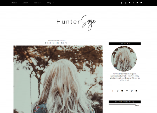 Black Simple Fashion Blogger Template