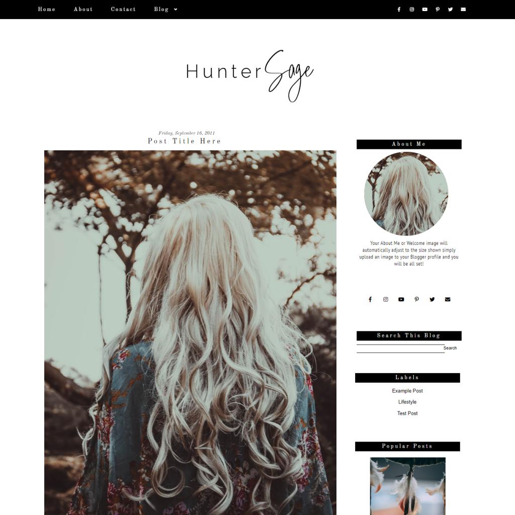 Black Minimal Fashion Blogger Template