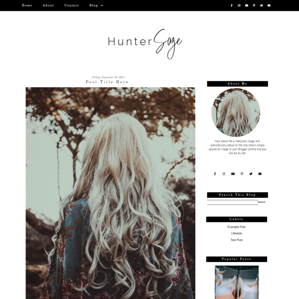 Black Minimal Fashion Blogger Template