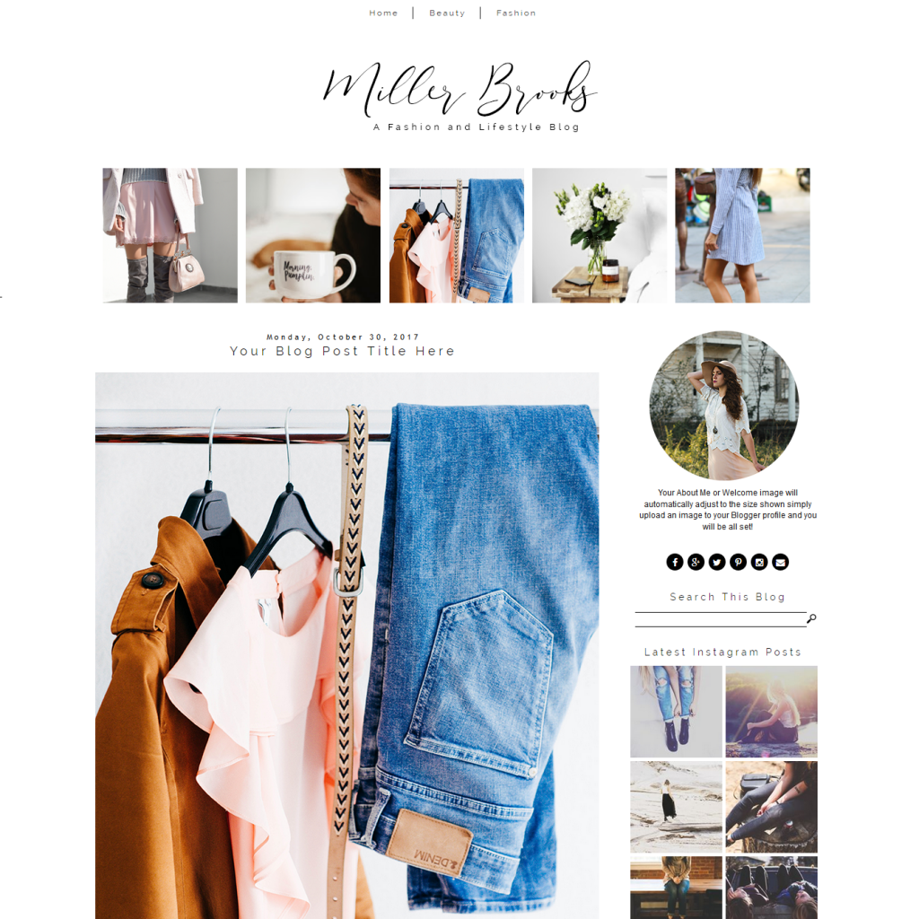 Fashion Blogger Theme - Miller Brooks Template